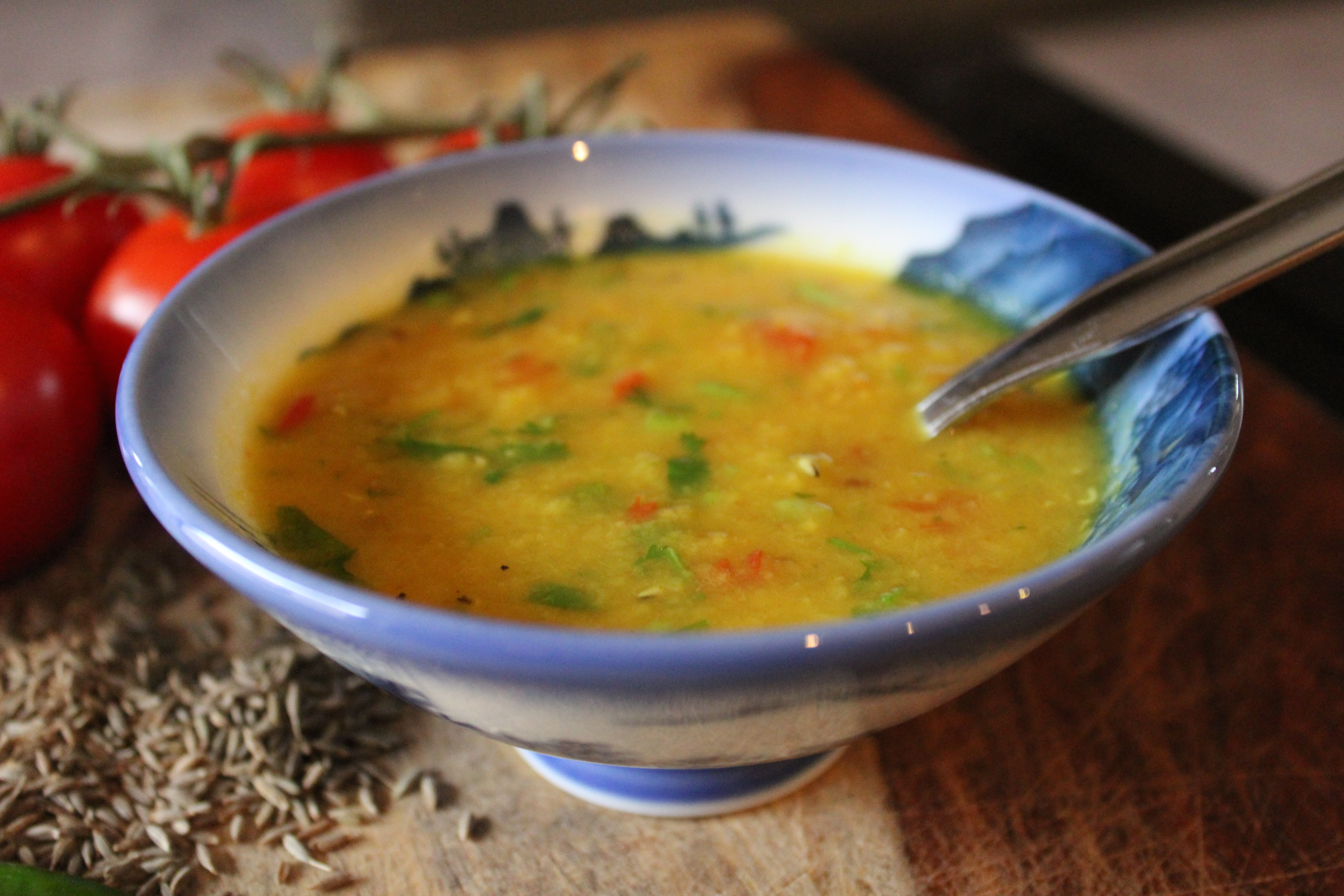 Ma's Everyday Tomato-Cilantro Red Lentil Dal