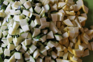 diced zucchini and yellow squash