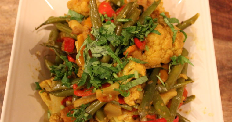 Cauliflower, Green Beans, & Peppers with Sweet Potato