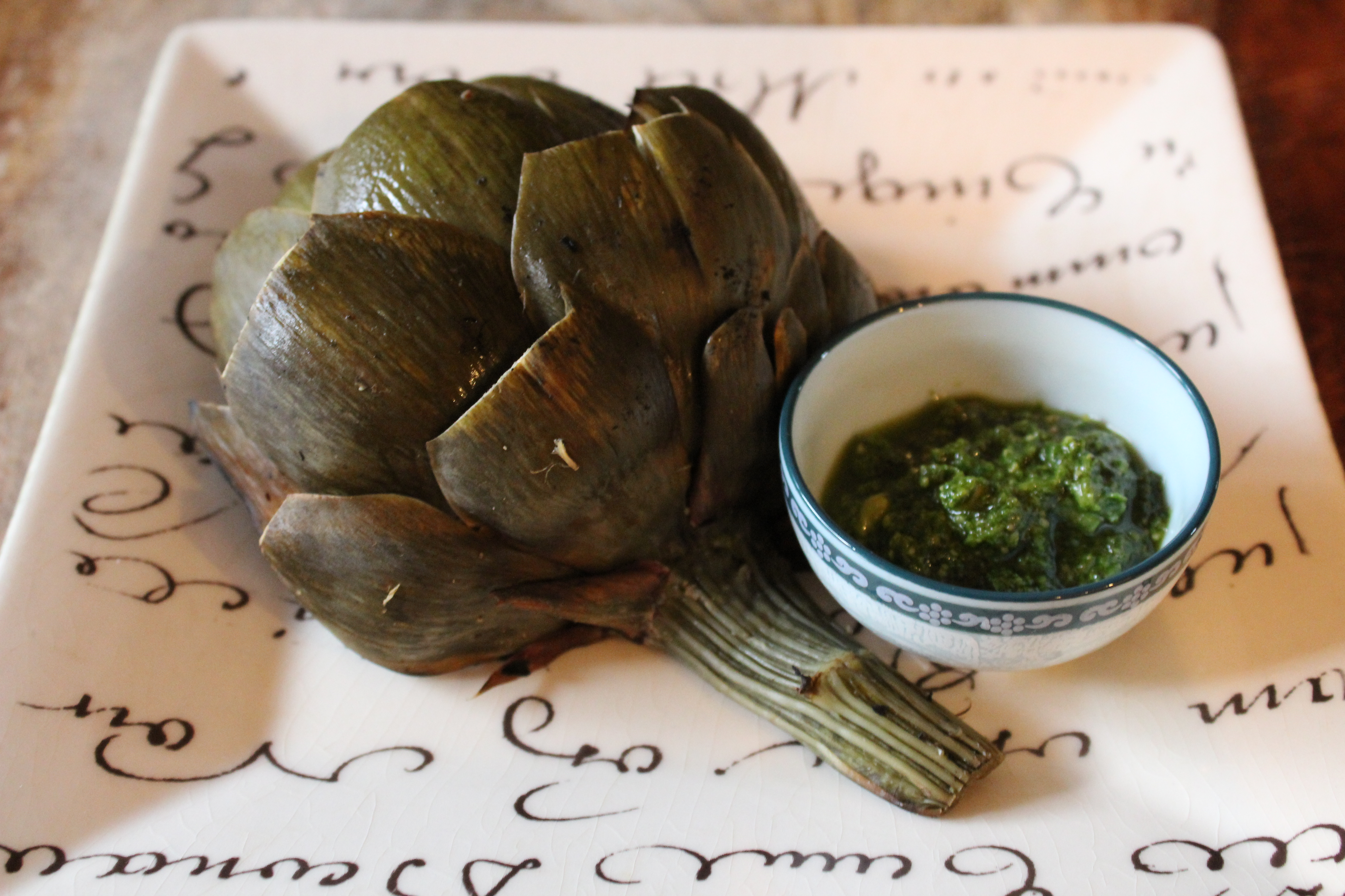 Grilled Artichokes with Pesto